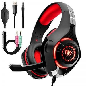 Beexcellent Casque Gaming pour PS4 Xbox one Casque Gamer avec Micro Anti Bruit LED Lampe Stéréo Basse Contrôle du Volume Microphone Réglable (Rouge) de la marque Beexcellent image 0 produit