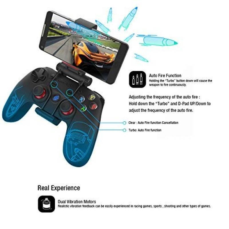 La manette GSIR est parfaite pour jouer à Fortnite et tous les autres jeux Android ! Elle est compatible avec les appareils Android, Windows PC, Steam, PS3 et Samsung Gear VR. La connexion se fait via Bluetooth 4.0, connexion filaire ou clé sans fil 2,4 Ghz.
