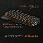 Konix WoT K-50 - Clavier Gamers AZERTY Retro Éclairé Orange - Anti Ghosting - Clavier Semi-Mecanique Gaming Pour PC, Mac - Repose Poignet - Clavier Gamer LED Filaire de la marque Konix image 1 produit