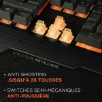 Konix WoT K-50 - Clavier Gamers AZERTY Retro Éclairé Orange - Anti Ghosting - Clavier Semi-Mecanique Gaming Pour PC, Mac - Repose Poignet - Clavier Gamer LED Filaire de la marque Konix image 2 produit