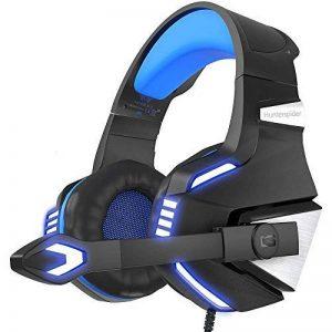 VersionTECH. Casque Gaming PS4 Audio, Casque Gamer Xbox One Anti-Bruit Filaire avec Micro, LED pour PC, Nintendo Switch, Macbook, Ordinateur, Téléphone - Bleu et Noir de la marque VersionTECH. image 0 produit